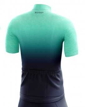 Duck Cycle Jersey - Ocean Green fading into navy depths